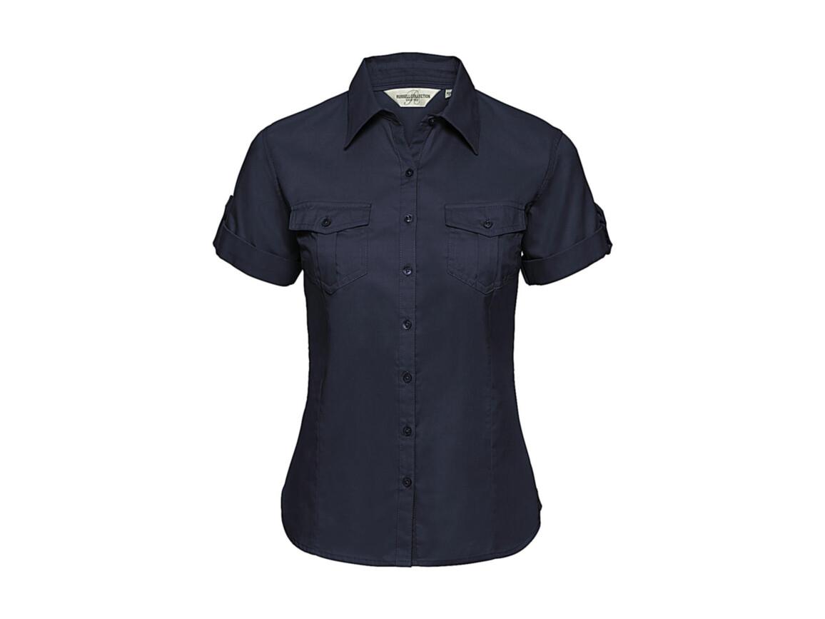 Russell Europe Ladies` Roll Sleeve Shirt, French Navy, M (38) bedrucken, Art.-Nr. 749002014