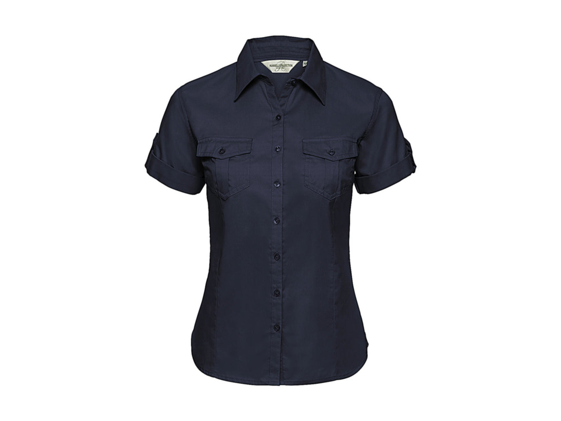 Russell Europe Ladies` Roll Sleeve Shirt, French Navy, XS (34) bedrucken, Art.-Nr. 749002012