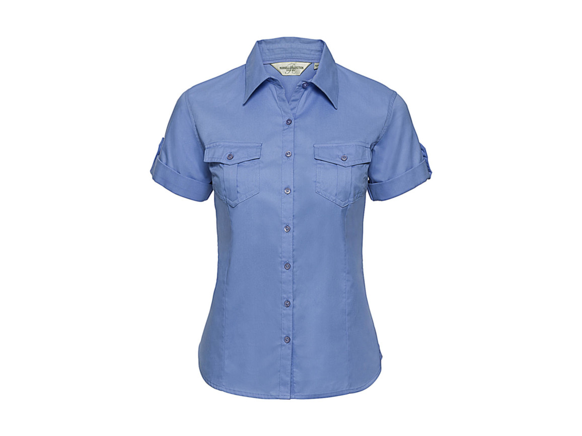 Russell Europe Ladies` Roll Sleeve Shirt, Blue, S (36) bedrucken, Art.-Nr. 749003013