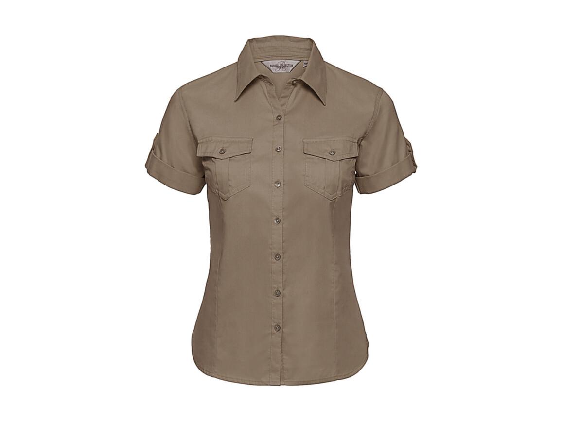 Russell Europe Ladies` Roll Sleeve Shirt, Khaki, 2XL (44) bedrucken, Art.-Nr. 749007317