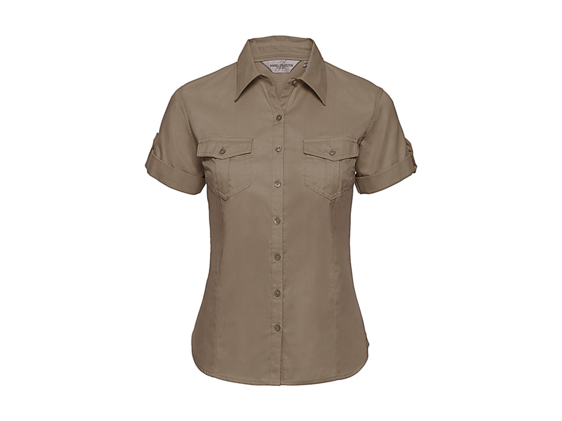 Russell Europe Ladies` Roll Sleeve Shirt, Khaki, XS (34) bedrucken, Art.-Nr. 749007312