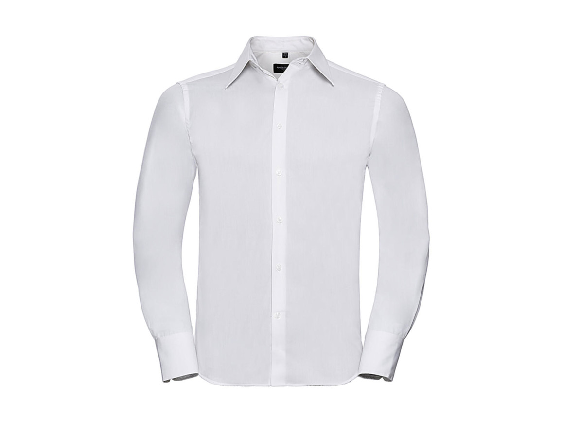 Russell Europe Tencel® Fitted Shirt LS, White, M bedrucken, Art.-Nr. 754000004