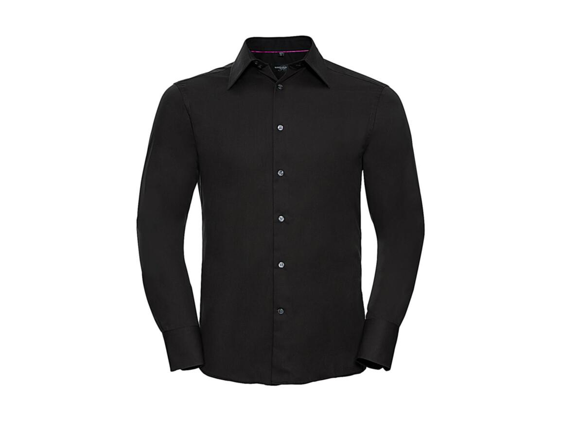 Russell Europe Tencel® Fitted Shirt LS, Black, M bedrucken, Art.-Nr. 754001014