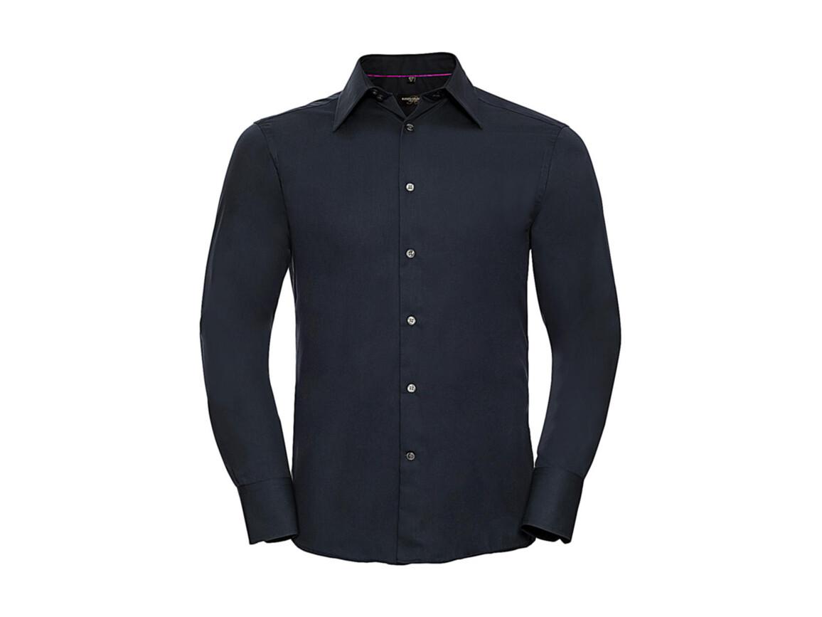 Russell Europe Tencel® Fitted Shirt LS, Navy, 2XL bedrucken, Art.-Nr. 754002007