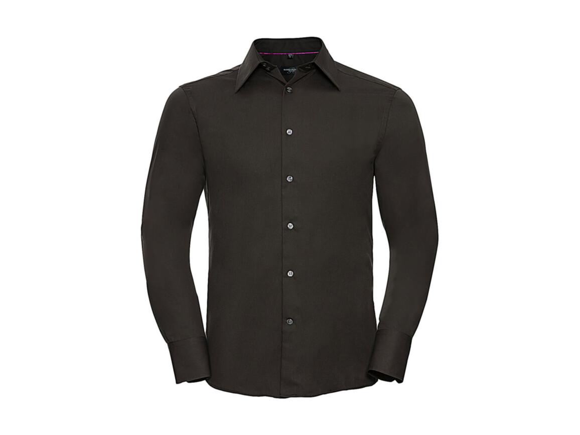Russell Europe Tencel® Fitted Shirt LS, Chocolate, M bedrucken, Art.-Nr. 754007014