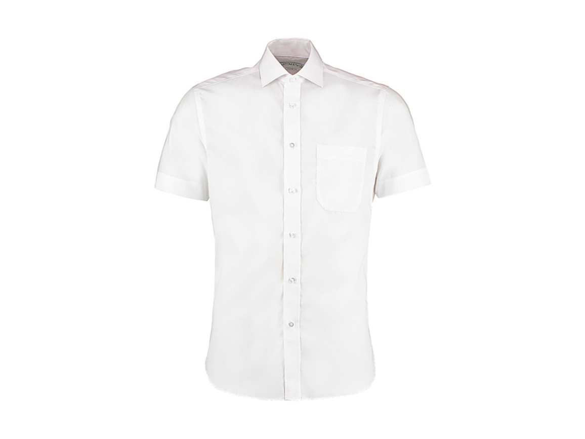 Kustom Kit Classic Fit Non Iron Shirt SSL, White, XL bedrucken, Art.-Nr. 757110006
