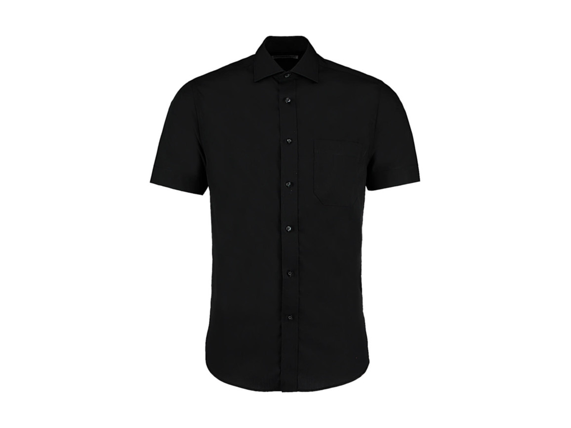 Kustom Kit Classic Fit Non Iron Shirt SSL, Black, 2XL bedrucken, Art.-Nr. 757111018