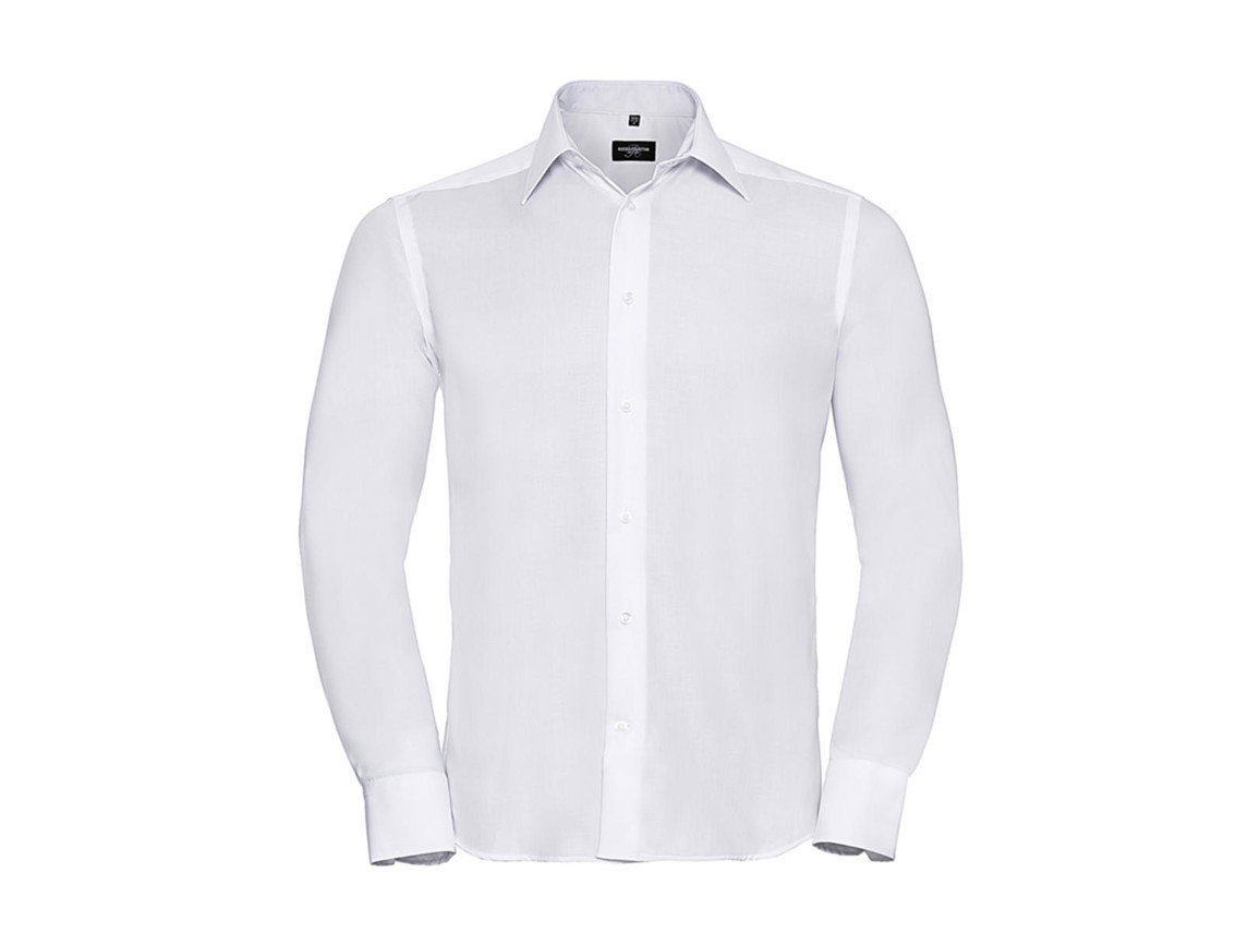 "Russell Europe Tailored Ultimate Non-iron Shirt LS, White, S/15"" bedrucken, Art.-Nr. 758000001"