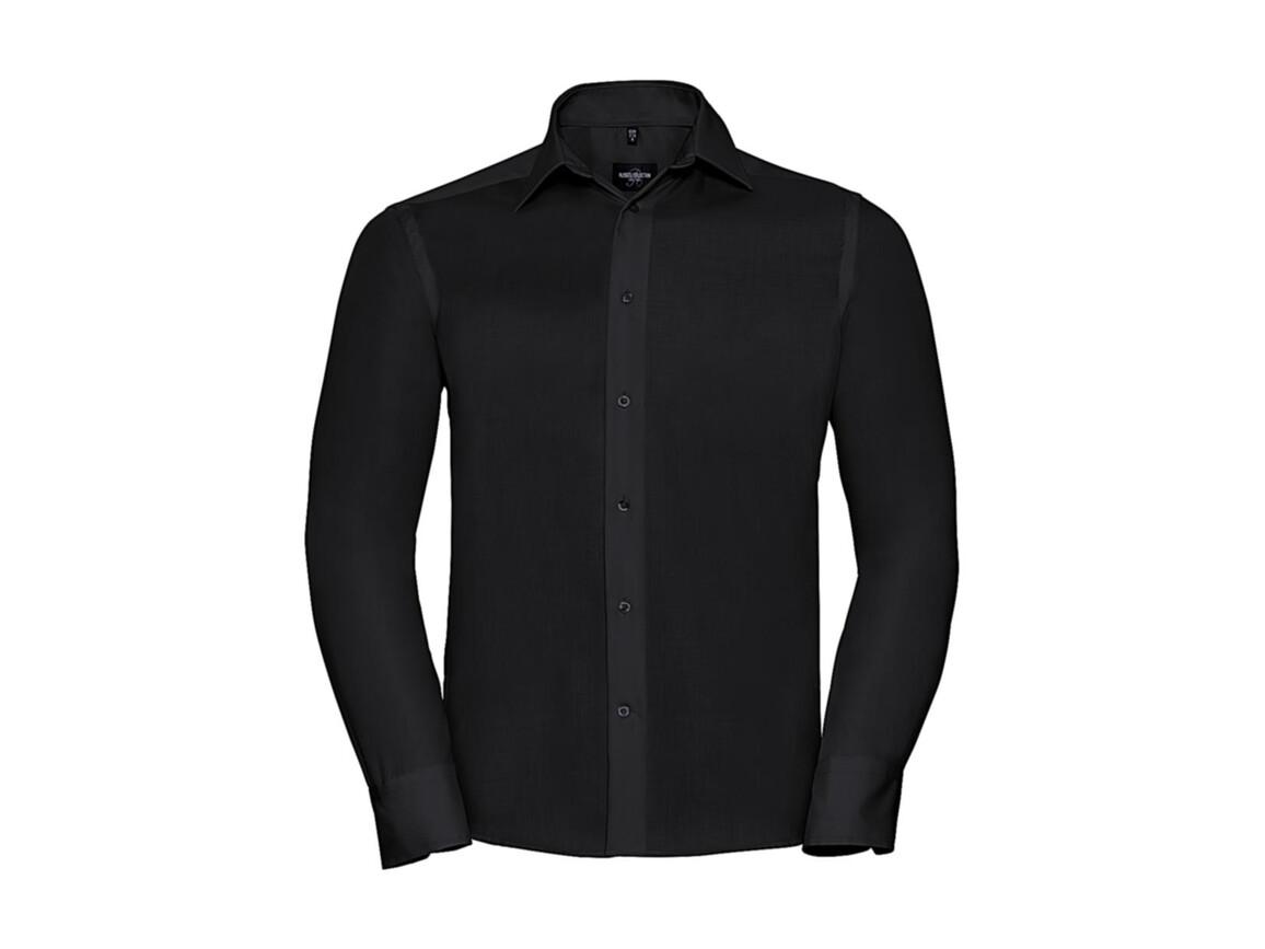 "Russell Europe Tailored Ultimate Non-iron Shirt LS, Black, L/16.5"" bedrucken, Art.-Nr. 758001013"