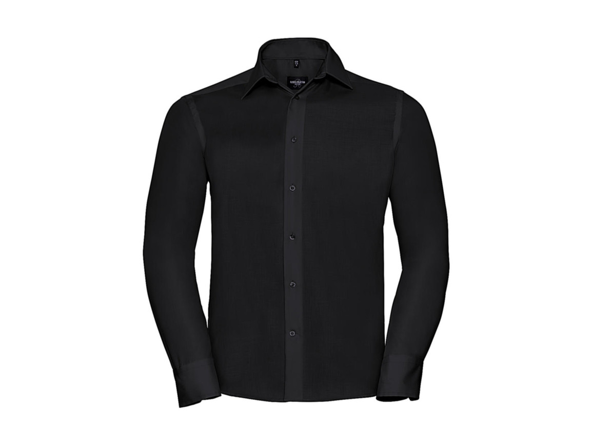 "Russell Europe Tailored Ultimate Non-iron Shirt LS, Black, S/15"" bedrucken, Art.-Nr. 758001011"