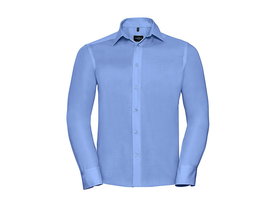 "Russell Europe Tailored Ultimate Non-iron Shirt LS, Bright Sky, M/15.5"" bedrucken, Art.-Nr. 758003102"