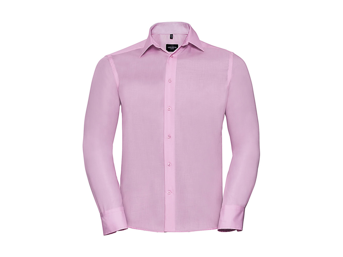 "Russell Europe Tailored Ultimate Non-iron Shirt LS, Classic Pink, S/15"" bedrucken, Art.-Nr. 758004201"