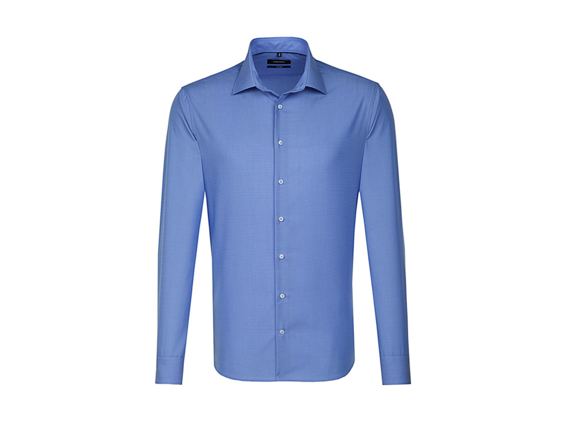 Seidensticker Seidensticker Tailored Fit Shirt LS, Mid Blue, 38 bedrucken, Art.-Nr. 758203151