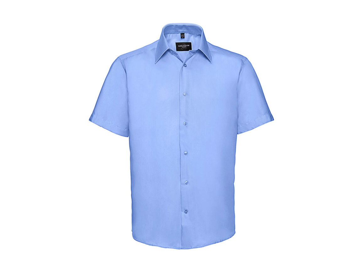 "Russell Europe Men`s Tailored Ultimate Non-Iron Shirt, Bright Sky, L/16.5"" bedrucken, Art.-Nr. 759003103"