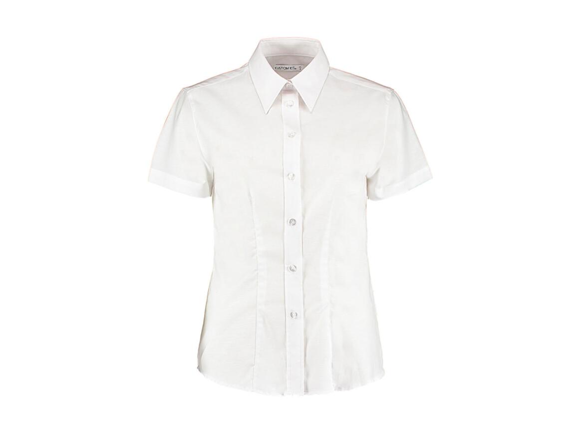 Kustom Kit Women`s Tailored Fit Workwear Oxford Shirt SSL, White, XS (8) bedrucken, Art.-Nr. 760110001