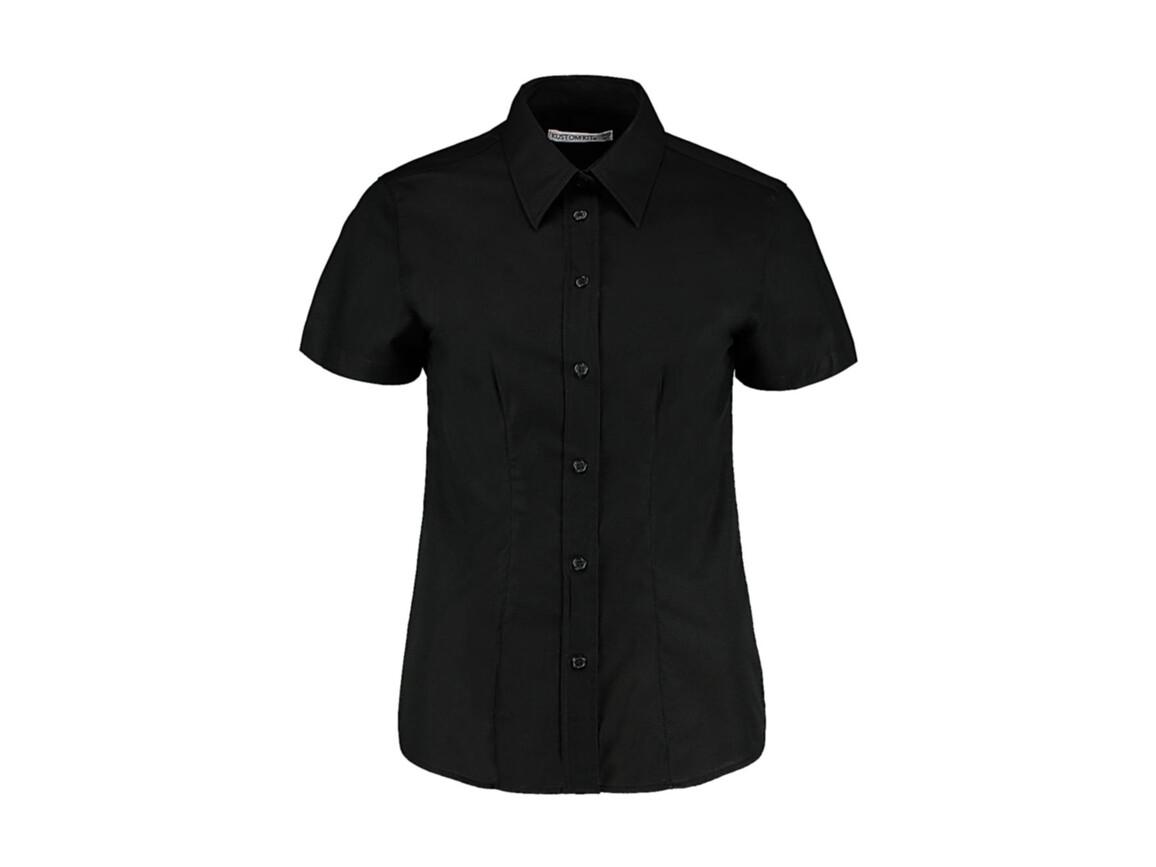 Kustom Kit Women`s Tailored Fit Workwear Oxford Shirt SSL, Black, L (14) bedrucken, Art.-Nr. 760111014