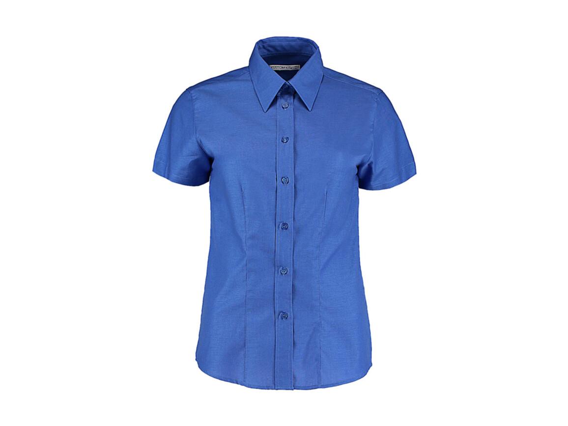 Kustom Kit Women`s Tailored Fit Workwear Oxford Shirt SSL, Italian Blue, L (14) bedrucken, Art.-Nr. 760113104