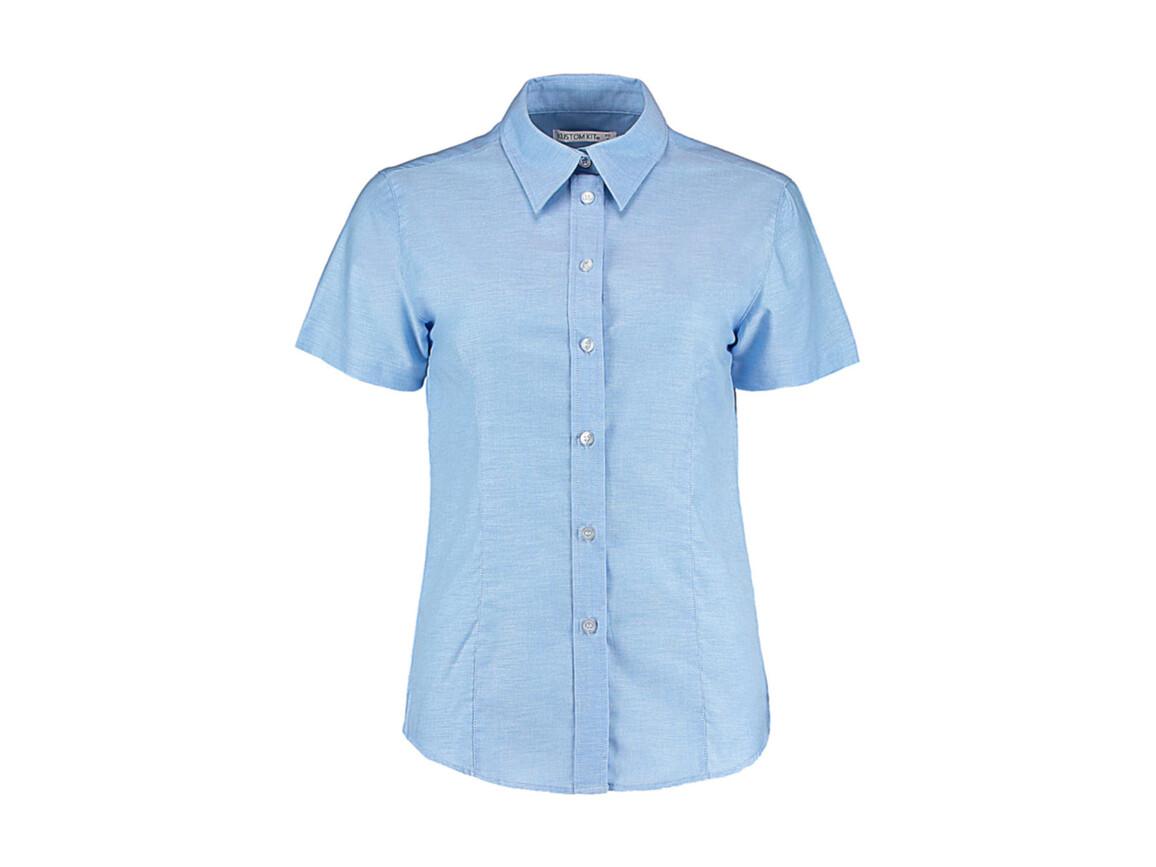 Kustom Kit Women`s Tailored Fit Workwear Oxford Shirt SSL, Light Blue, L (14) bedrucken, Art.-Nr. 760113214