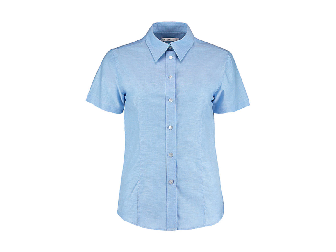 Kustom Kit Women`s Tailored Fit Workwear Oxford Shirt SSL, Light Blue, M (12) bedrucken, Art.-Nr. 760113213