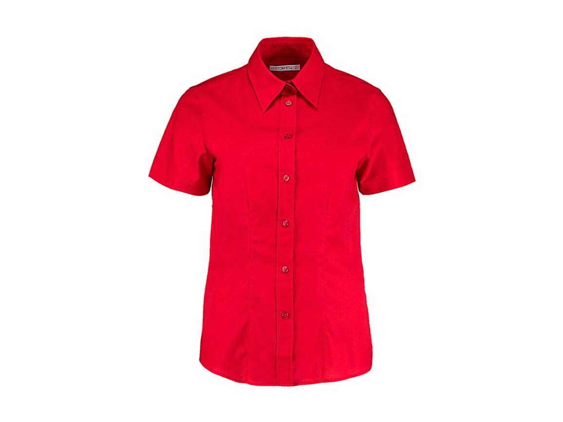 Kustom Kit Women`s Tailored Fit Workwear Oxford Shirt SSL, Red, L (14) bedrucken, Art.-Nr. 760114004