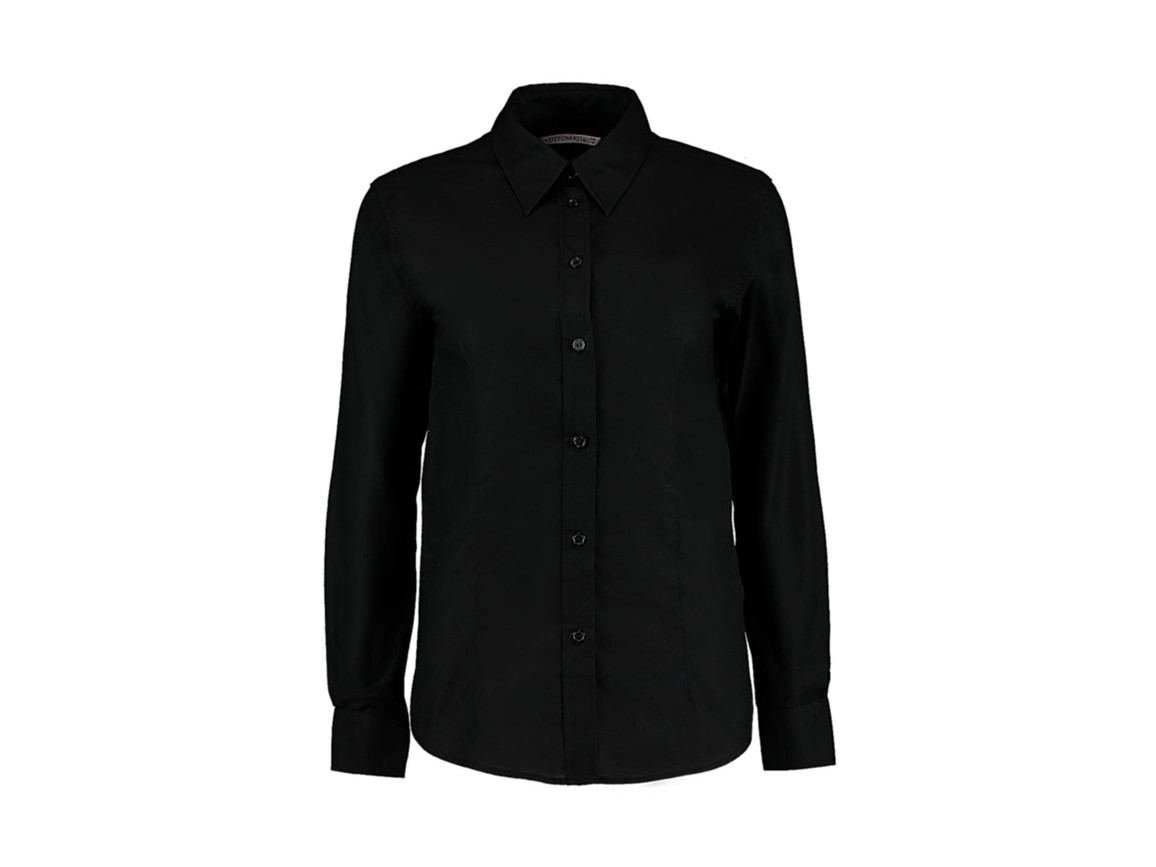 Kustom Kit Women`s Tailored Fit Workwear Oxford Shirt, Black, L (14) bedrucken, Art.-Nr. 761111014