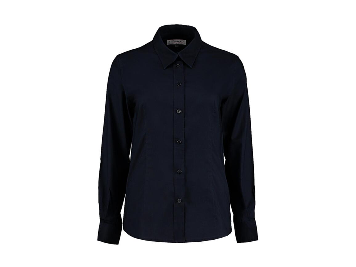 Kustom Kit Women`s Tailored Fit Workwear Oxford Shirt, French Navy, S (10) bedrucken, Art.-Nr. 761112012