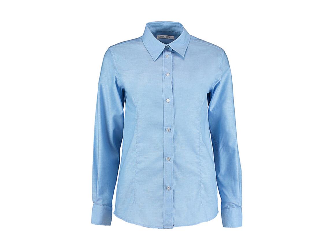 Kustom Kit Women`s Tailored Fit Workwear Oxford Shirt, Light Blue, S (10) bedrucken, Art.-Nr. 761113212