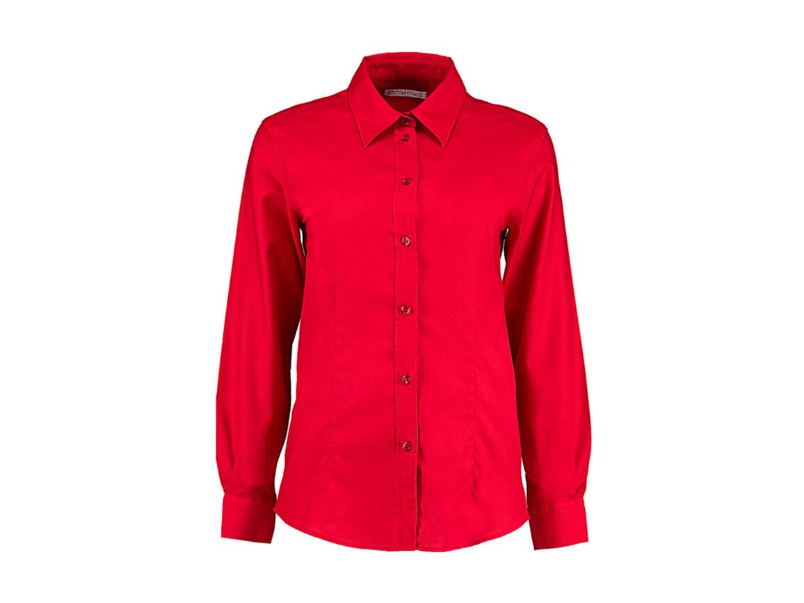 Kustom Kit Women`s Tailored Fit Workwear Oxford Shirt, Red, S (10) bedrucken, Art.-Nr. 761114002