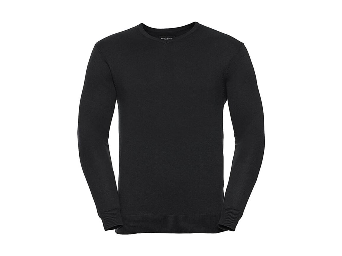 Russell Europe Men`s V-Neck Knitted Pullover, Black, 2XS bedrucken, Art.-Nr. 762001011