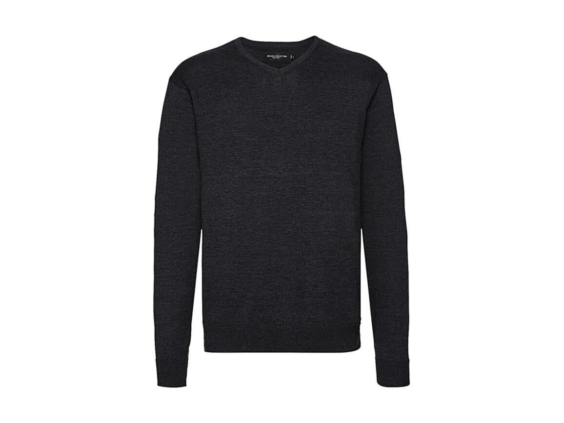 Russell Europe Men`s V-Neck Knitted Pullover, Charcoal Marl, L bedrucken, Art.-Nr. 762001165