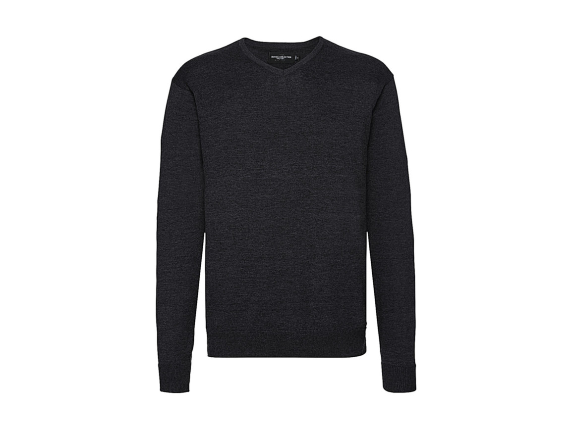 Russell Europe Men`s V-Neck Knitted Pullover, Charcoal Marl, XL bedrucken, Art.-Nr. 762001166