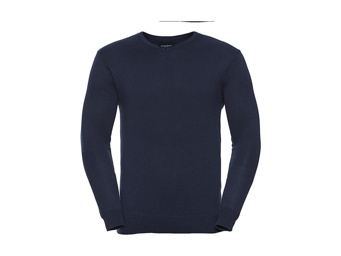 Russell Europe Men`s V-Neck Knitted Pullover, French Navy, S bedrucken, Art.-Nr. 762002013