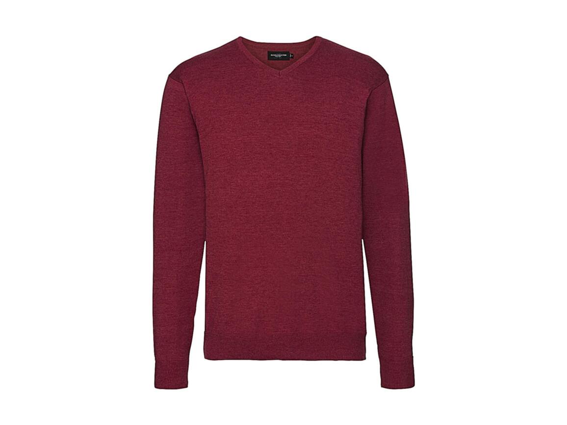 Russell Europe Men`s V-Neck Knitted Pullover, Cranberry Marl, L bedrucken, Art.-Nr. 762004315