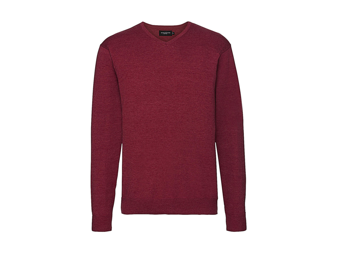 Russell Europe Men`s V-Neck Knitted Pullover, Cranberry Marl, M bedrucken, Art.-Nr. 762004314