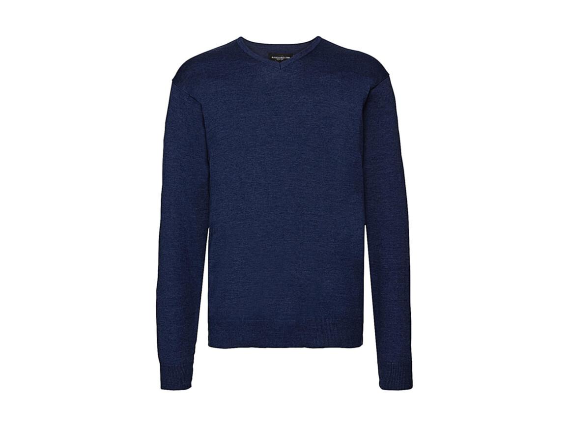 Russell Europe Men`s V-Neck Knitted Pullover, Denim Marl, L bedrucken, Art.-Nr. 762003175