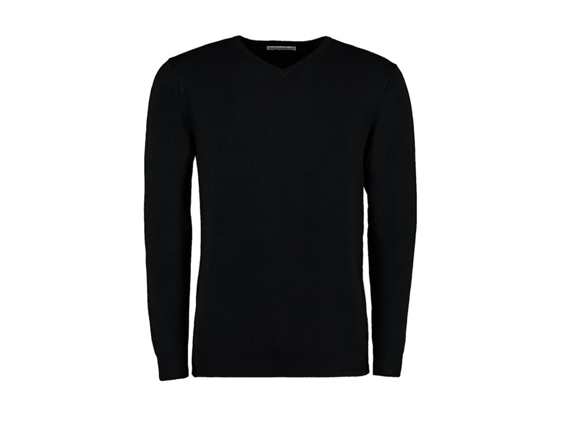 Kustom Kit Classic Fit Arundel V Neck Sweater, Black, L bedrucken, Art.-Nr. 762111015
