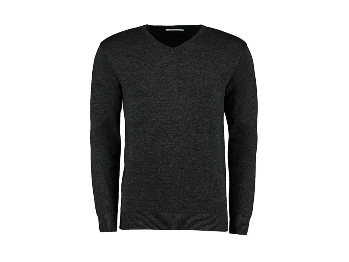 Kustom Kit Classic Fit Arundel V Neck Sweater, Graphite, L bedrucken, Art.-Nr. 762111315