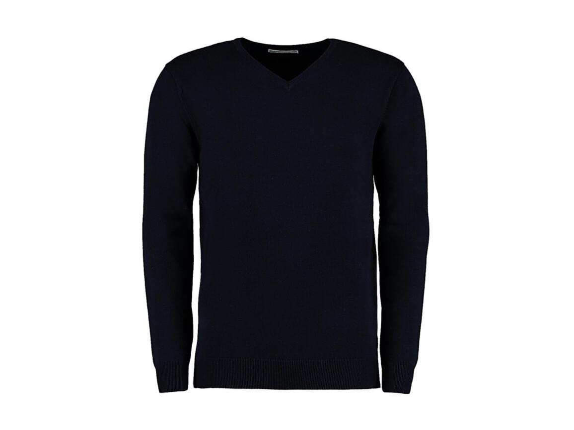 Kustom Kit Classic Fit Arundel V Neck Sweater, Navy, S bedrucken, Art.-Nr. 762112003