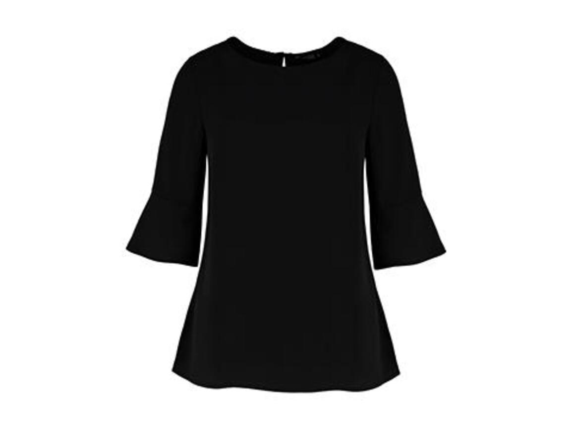 Kustom Kit Regular Fit Fluted Sleeve Top, Black, S bedrucken, Art.-Nr. 766111013