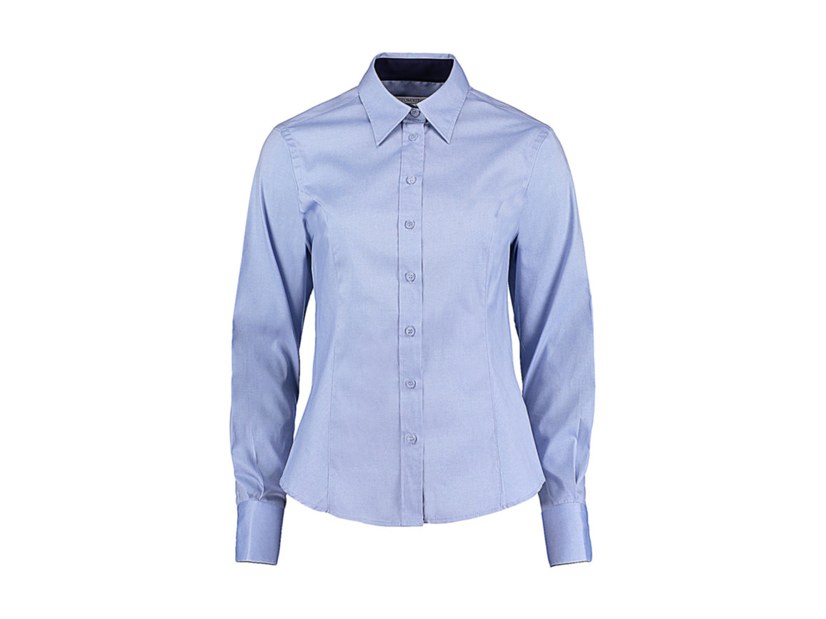 Kustom Kit Women`s Tailored Fit Premium Contrast Oxford Shirt, Light Blue/Navy, M bedrucken, Art.-Nr. 767113634