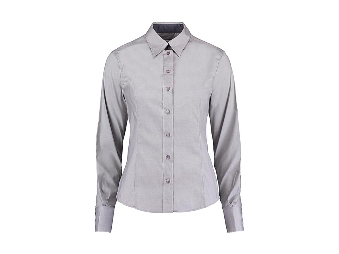 Kustom Kit Women`s Tailored Fit Premium Contrast Oxford Shirt, Silver Grey/Charcoal, M bedrucken, Art.-Nr. 767117534