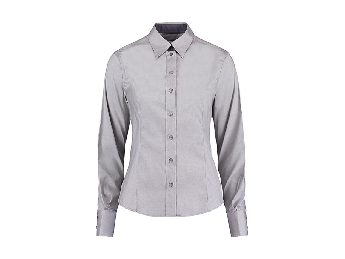 Kustom Kit Women`s Tailored Fit Premium Contrast Oxford Shirt, Silver Grey/Charcoal, XL bedrucken, Art.-Nr. 767117536
