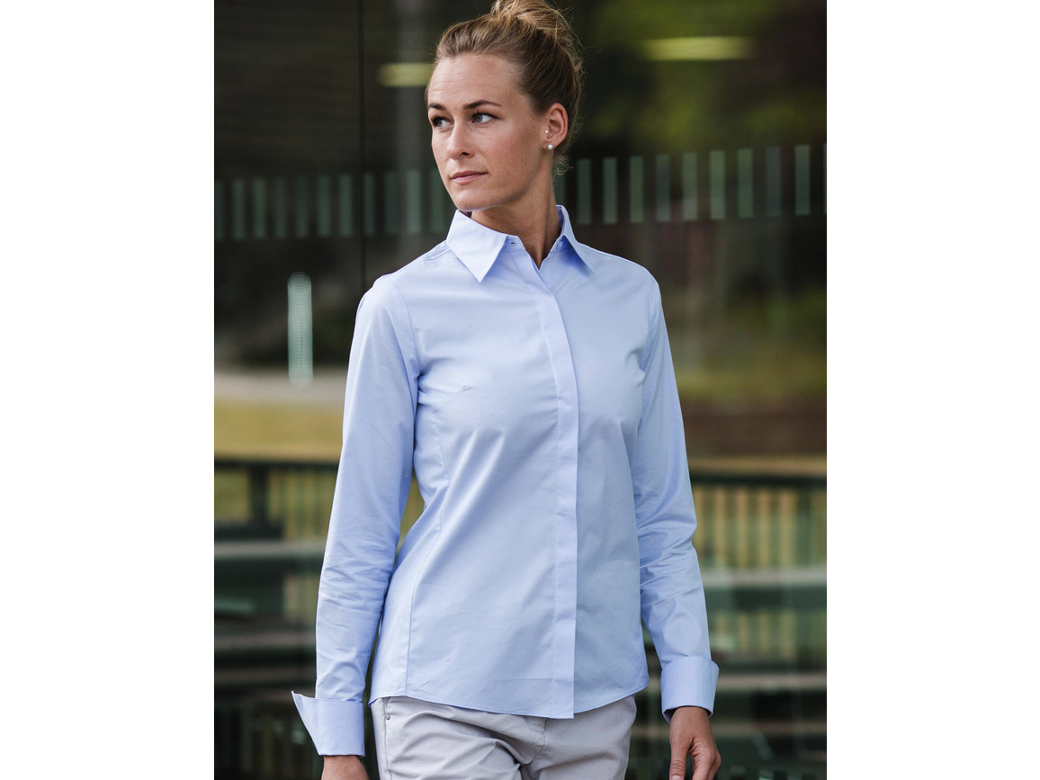 Russell Europe Ladies` LS Ultimate Stretch Shirt, Bright Sky, M (38) bedrucken, Art.-Nr. 768003104