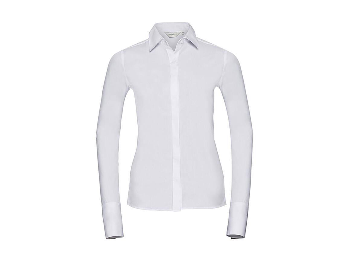 Russell Europe Ladies` LS Ultimate Stretch Shirt, White, M (38) bedrucken, Art.-Nr. 768000004