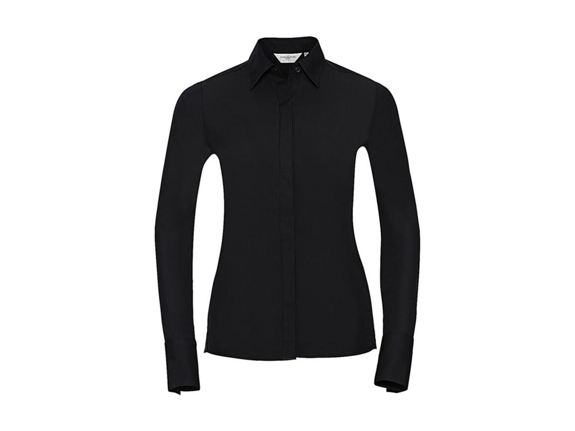 Russell Europe Ladies` LS Ultimate Stretch Shirt, Black, 4XL (48) bedrucken, Art.-Nr. 768001019