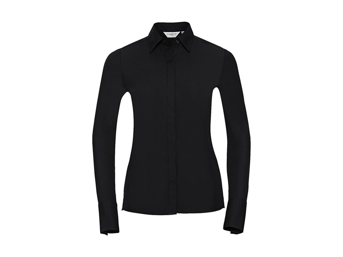 Russell Europe Ladies` LS Ultimate Stretch Shirt, Black, L (40) bedrucken, Art.-Nr. 768001015