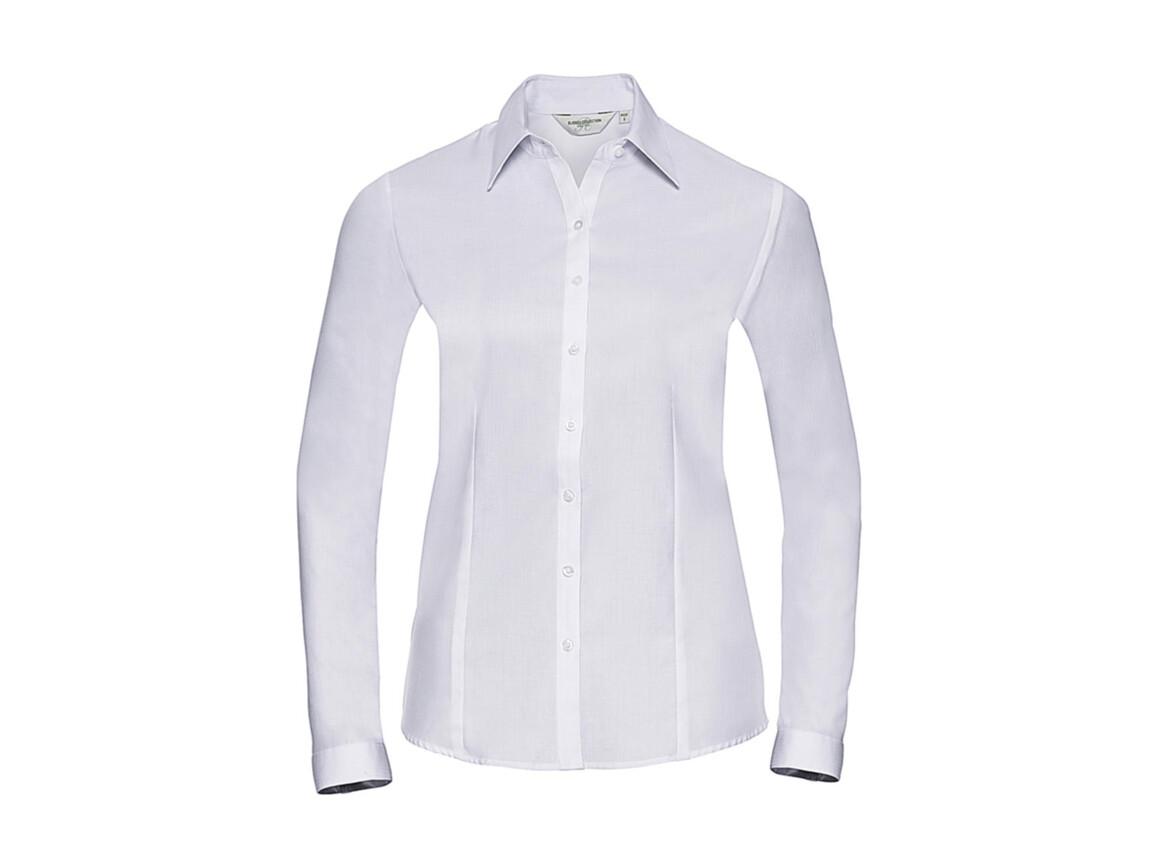 Russell Europe Ladies` LS Herringbone Shirt, White, XL (42) bedrucken, Art.-Nr. 769000006