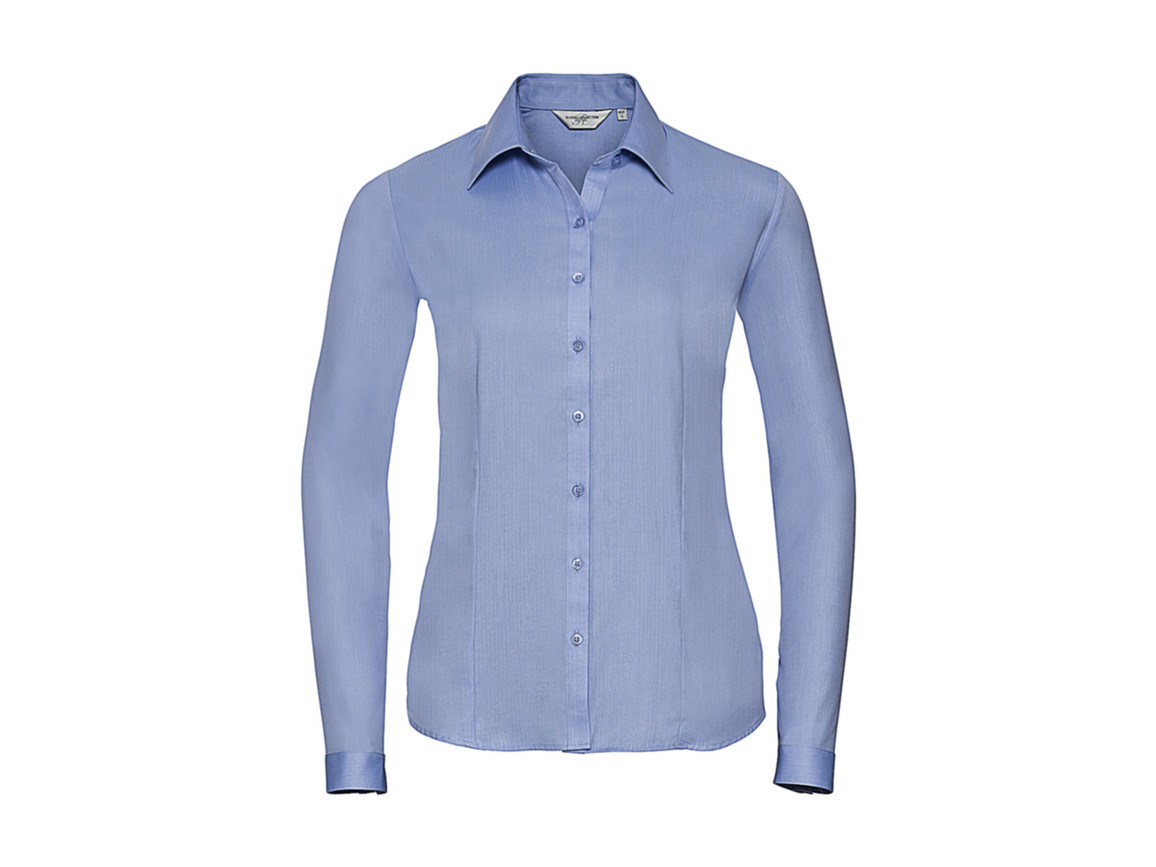 Russell Europe Ladies` LS Herringbone Shirt, Light Blue, M (38) bedrucken, Art.-Nr. 769003214