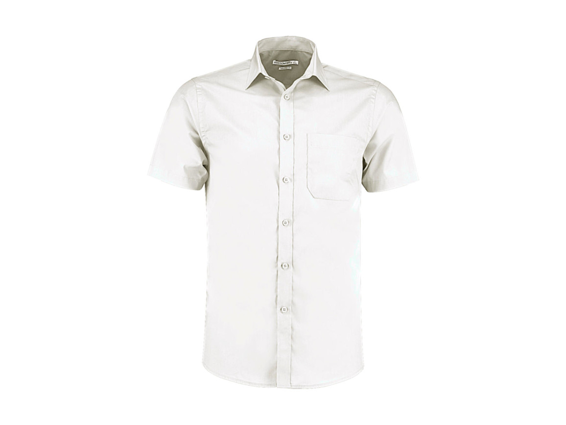 Kustom Kit Tailored Fit Poplin Shirt SSL, White, XS bedrucken, Art.-Nr. 770110002