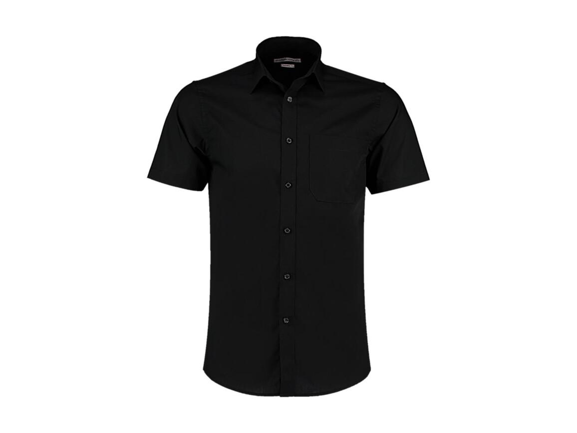 Kustom Kit Tailored Fit Poplin Shirt SSL, Black, 2XL bedrucken, Art.-Nr. 770111017